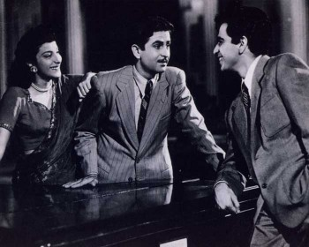 Nargis, Raj Kapoor, and Dilip Kumar, in scene from Andaz
